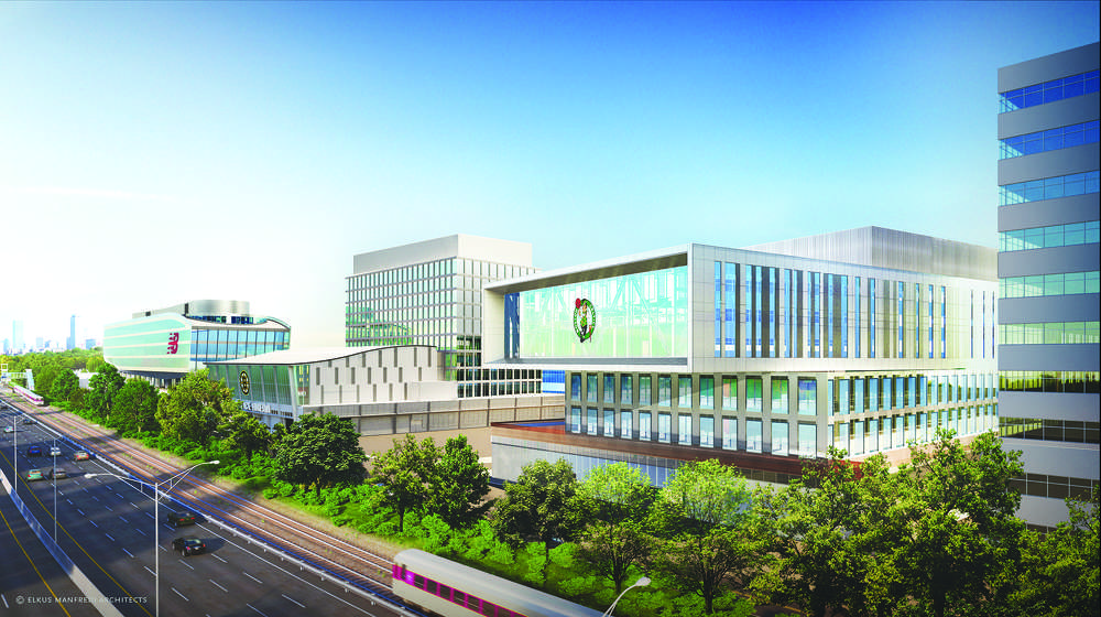 Part of the Boston Landing mixed-use development, 40 Guest St. is a planned 160,000-sq.-ft. (14,864 sq m) facility that will be the home of the Boston Celtics' new, 71,000-sq.-ft. (6,596 sq m) training and practice facility.