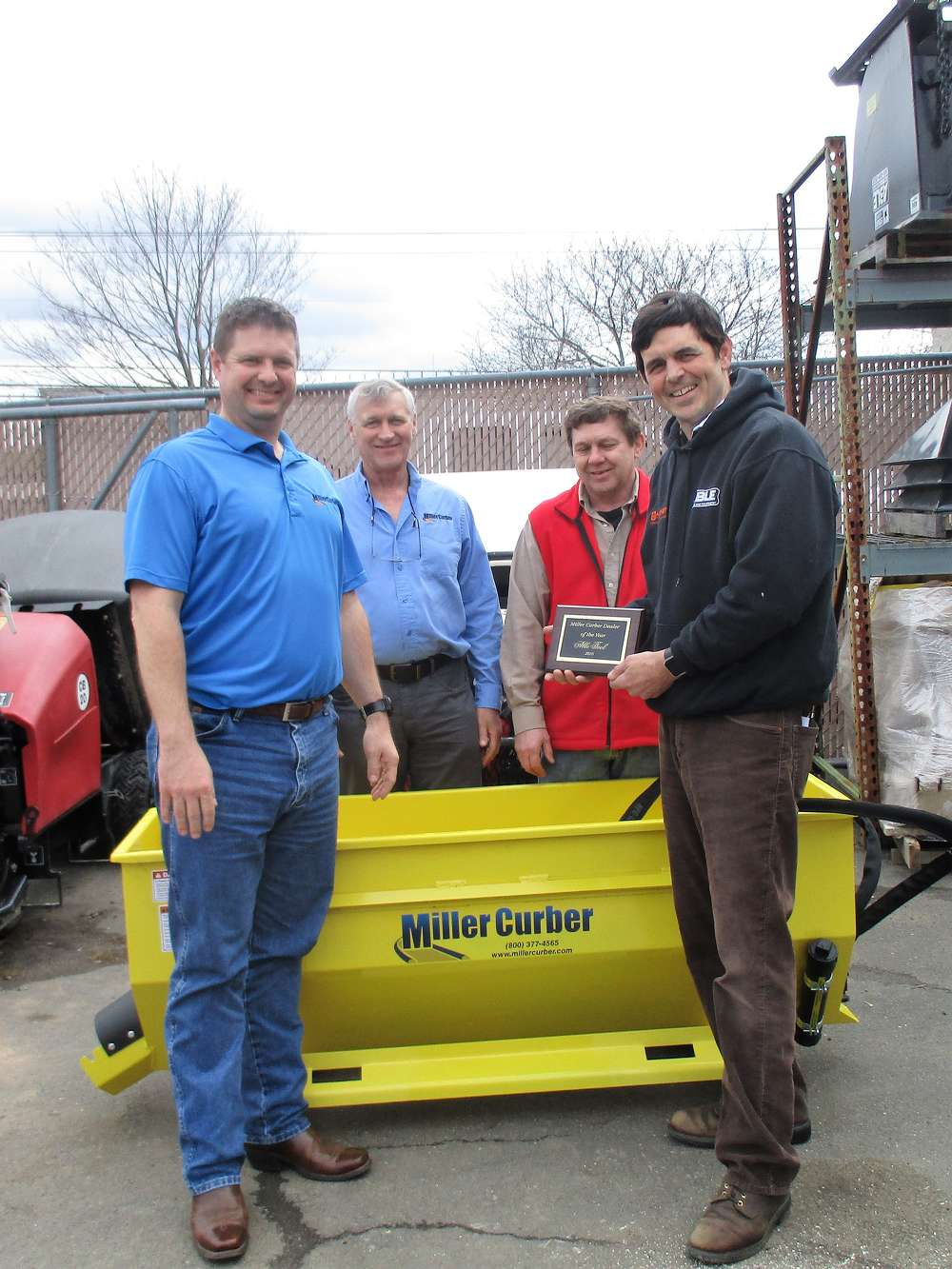 (L-R): Hank Rochette, sales manager of Miller Curber LLC; Randy Best, manufacturing manager of Miller Curber LLC; Ron Barnas; and Derek Bauer, owner of Able Tool & Equipment.