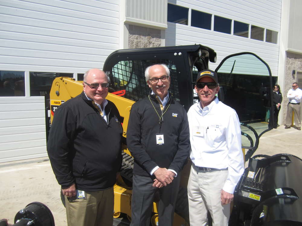 (L-R): Bob Seppa, director of equipment asset management; Tom Svetnicka, vice president of marketing; and Jere Fabick, president of Fabick CAT, welcome guests to the annual Season Opener.