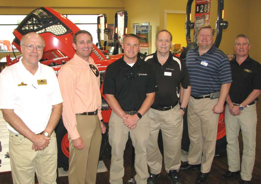 (L-R): Rusty Buster of Land Pride; Josh Sears and Hank Thacker, both of Kubota; Jack Brandt and Jim Freeman, Atlanta Kubota; and Bob Bethards, Digga North America, attend the event.