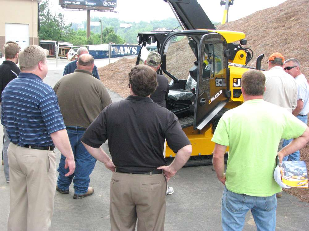 The star of the show, the new JCB teleskid, garners a crowd