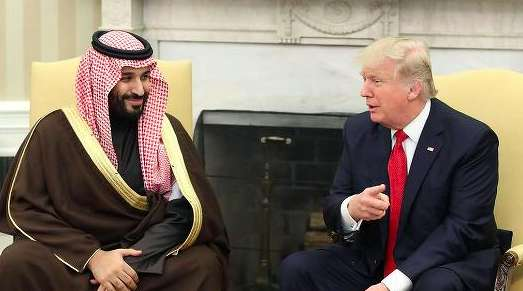 U.S. President Donald Trump, speaks with Mohammed bin Salman, the Kingdom of Saudi Arabia's deputy crown prince and minister of defense. Photo by Mark Wilson Getty Images