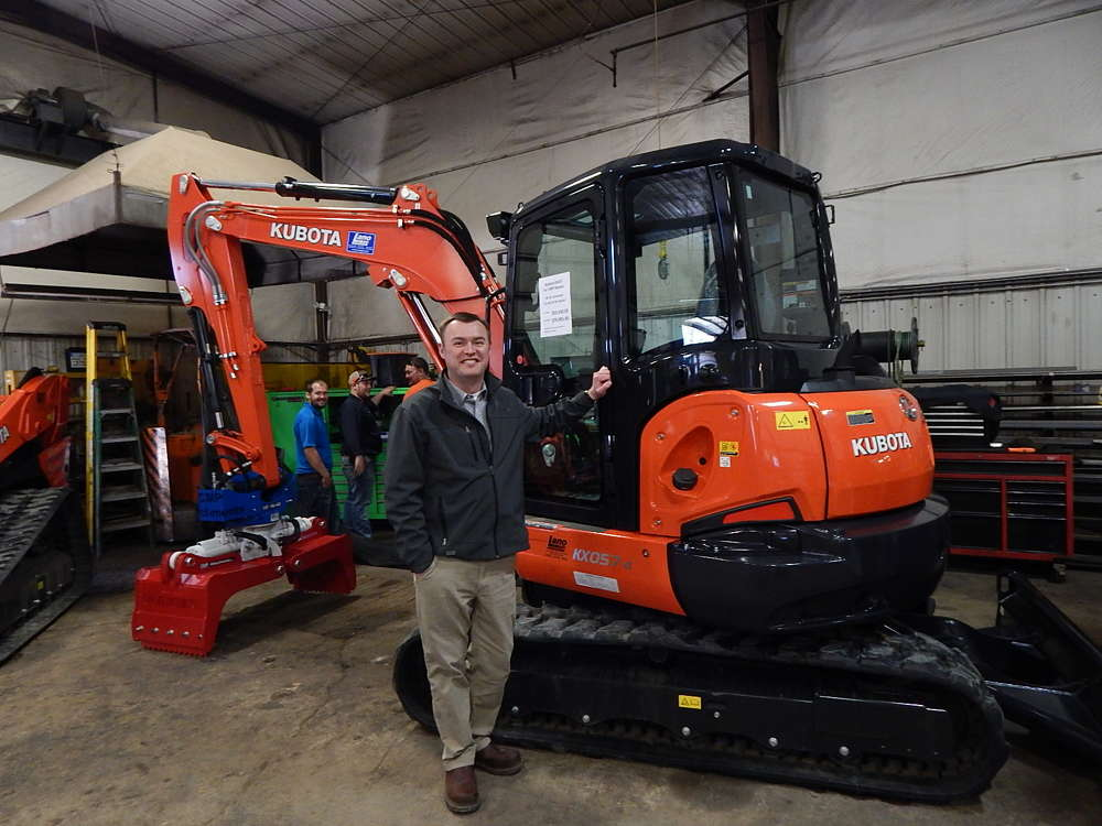 Paul Kroening, regional sales manager, Kubota Tractor Corporation, Fort Worth, Texas, goes over the features of this Kubota KX057-4 excavator.