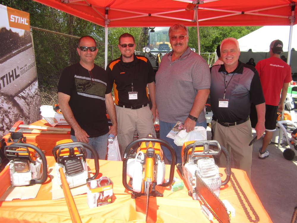 (L-R) are Aron Yakima, Brieser Construction; Andrew Cuetler, STIHL Midwest; Dale Rhodes, Brieser Construction; and Tim Callahan, STIHL Midwest.