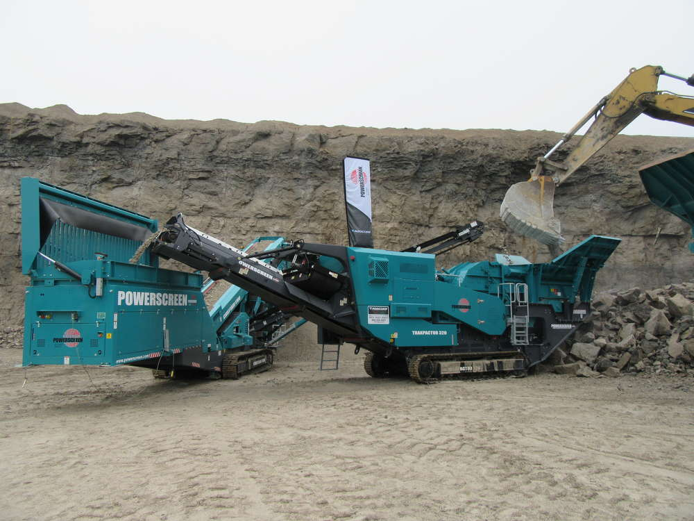 A Powerscreen Trakpactor 320 and Powerscreen Chieftain 1700 go into action at the event.