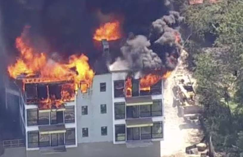 The cause of the fire is still under investigation. Photo via WNBC-TV