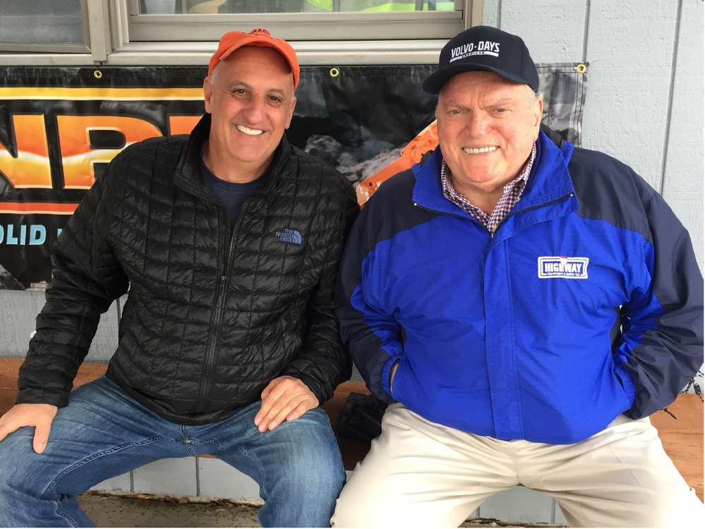 Mark Anskis (L) of Bill Anskis Co. Inc. sits with Bob Palermo, sales manager.