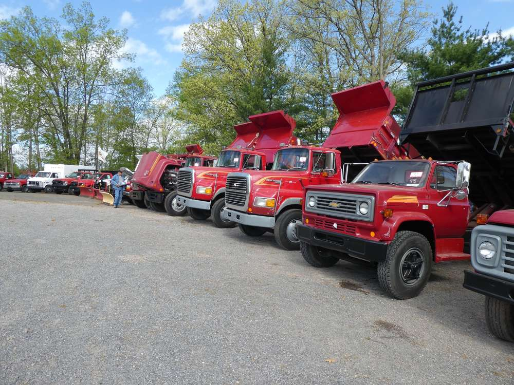 Dump trucks, flatbeds, stake bodies, pickups and other trucks went on the auction block.