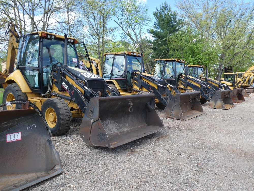Several Caterpillar backhoes were recently sold at Hunyady's absolute auction in Flemington, N.J., for Barbiche Brothers Construction Inc.