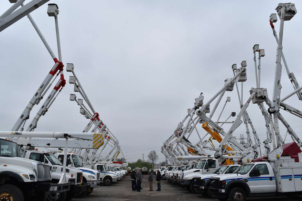 A big selection of bucket trucks went on the auction block in Plymouth Meeting, Pa.