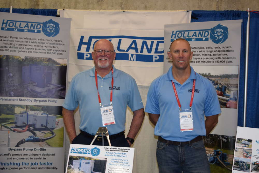 Eugene Lant (L) and Joe Hoffman, both of Holland Pump, attend the expo.