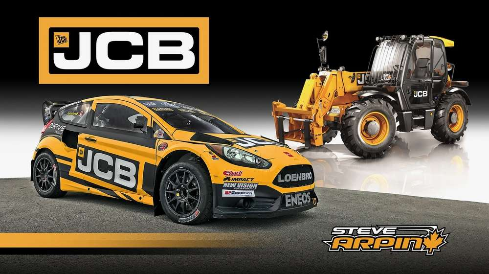 Loenbro Motorsports No. 00 Ford Fiesta ST, driven by Steve Arpin, in eye-catching JCB livery for the second race of the 2017 Red Bull Global Rallycross season, with a JCB 509-23TC Loadall telescopic handler.