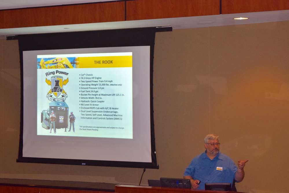 Jason Rundle, marketing liaison of Ring Power, opens up the heavy equipment theft seminar by talking how Ring Power likes to partner with law enforcement agencies.