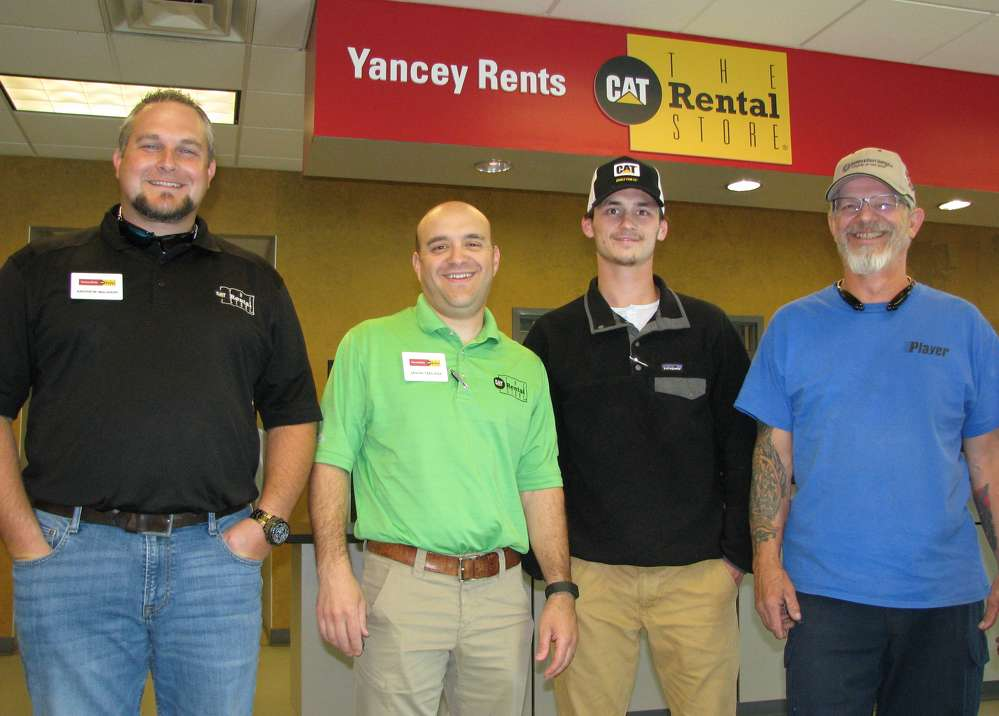 (L-R): Andrew McBain and Jason Tablada, Yancey Rents, provide a tour of the facility to Kannon Coontz and Kevin Hogsed, both of Diversified Utility Services, Morrow, Ga.
