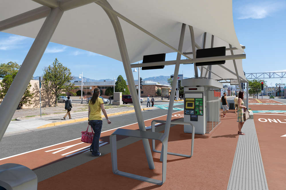ART photo Shown at right, the ART bus system will bring numerous changes to Central Avenue including canopy-covered bus stations.