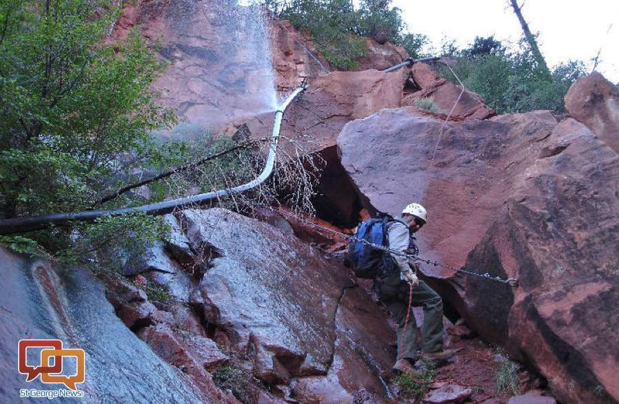 Park personnel assesses damage from a split in a section of the Trans-Canyon Waterline in 2014. The pipeline, installed in the mid-1960s, feeds water from Roaring Springs, located approximately 3,500 feet below the North Rim. National Park Service , St. George News photo