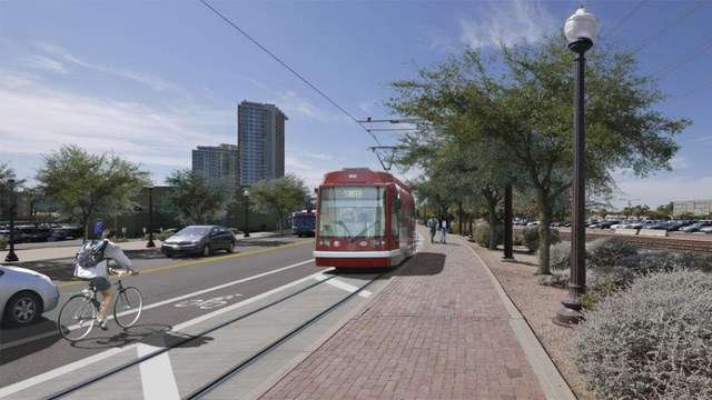 The streetcar project will be different than the Phoenix metro area's light rail system, which runs through Tempe. Azfamily.com photo