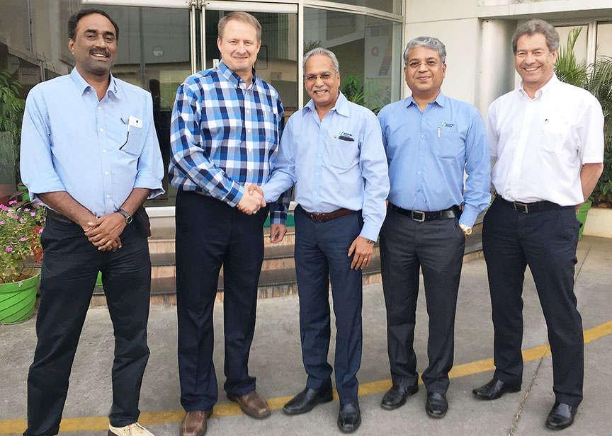 Kent Godbersen, GOMACO's Vice President of Worldwide Sales and Marketing; Anand Sundaresan, Schwing Stetter's Chairman; V.G. Sakthikumar, Schwing Stetter's Managing Director; and Rory Keogh, GOMACO International Ltd.'s Managing Director.