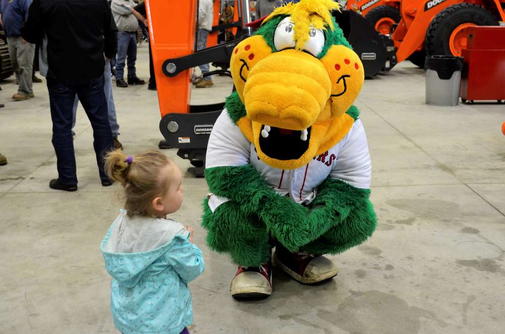 Canaligator, part of the Red Sox Minor League's Lowell Spinners family, attended the open house. The children weren't sure if they should run away or hug him.