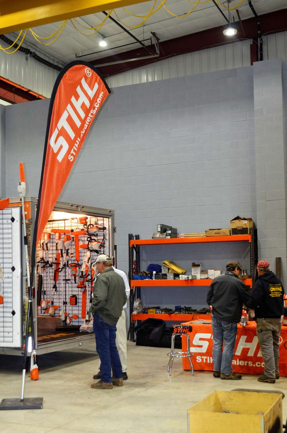 Stihl had a trailer display of its entire product line — available through Equipment East.