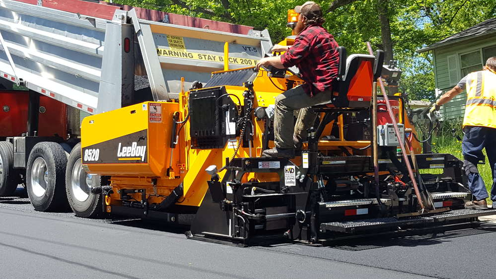 An 8520 paver recently laid asphalt for a paving contractor in the Lincolnton, N.C., area, near LeeBoy's headquarters