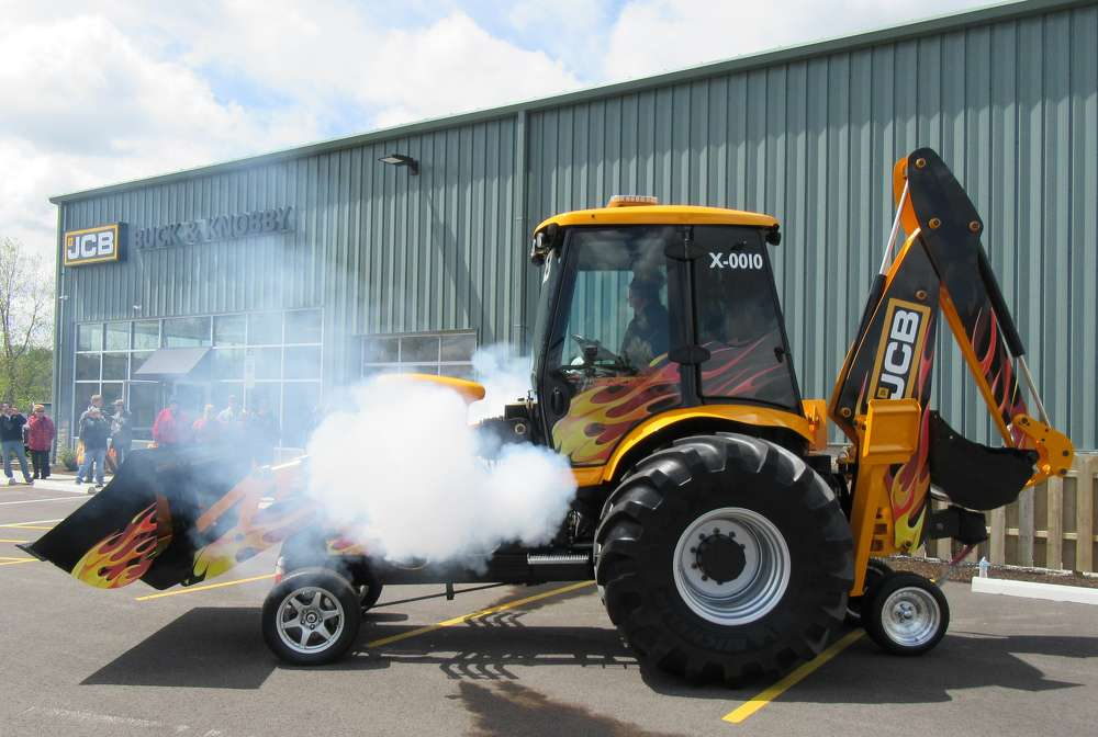 The JCB GT, the world's fastest backhoe, demonstrates its awesome power at the open house event.