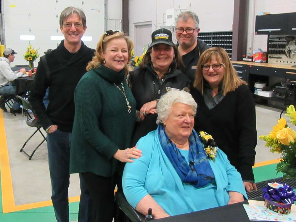 (L-R): The Nolfo family, including Jim, Linda, Amy, Brad and Laurie wished Alice Nolfo (seated) a happy birthday at the event.
