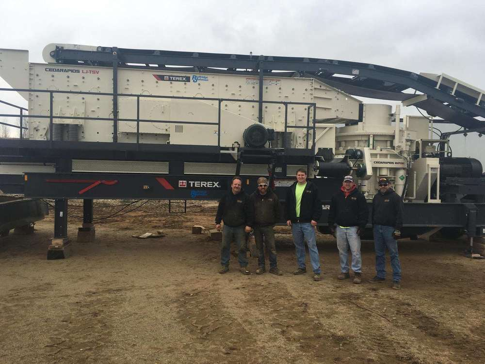 (L-R) are Gary Hall and Erik Engelson, crusher operators; Jason Sing and Justin Sing, owners; and Marcus Nelson, washing plant operator all of Meeker Sand & Gravel.