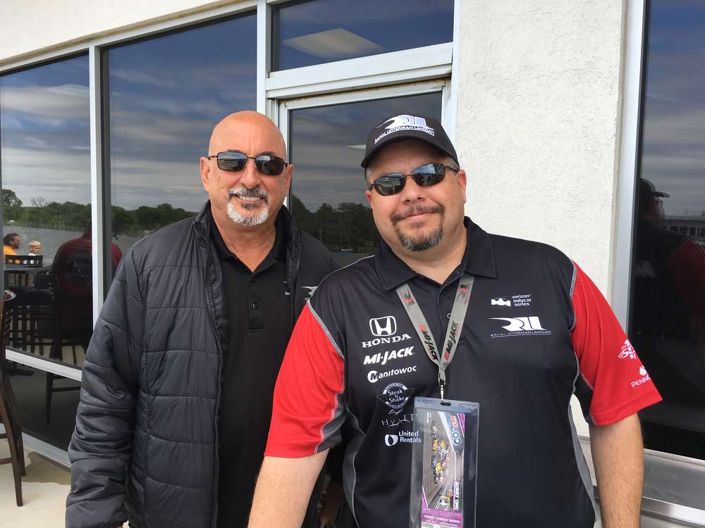 The 1986 Indianapolis 500 winner and co-owner of Rahal Letterman Lanigan Racing Bobby Rahal (L) with Rob Morton of Bowen Engineering.
