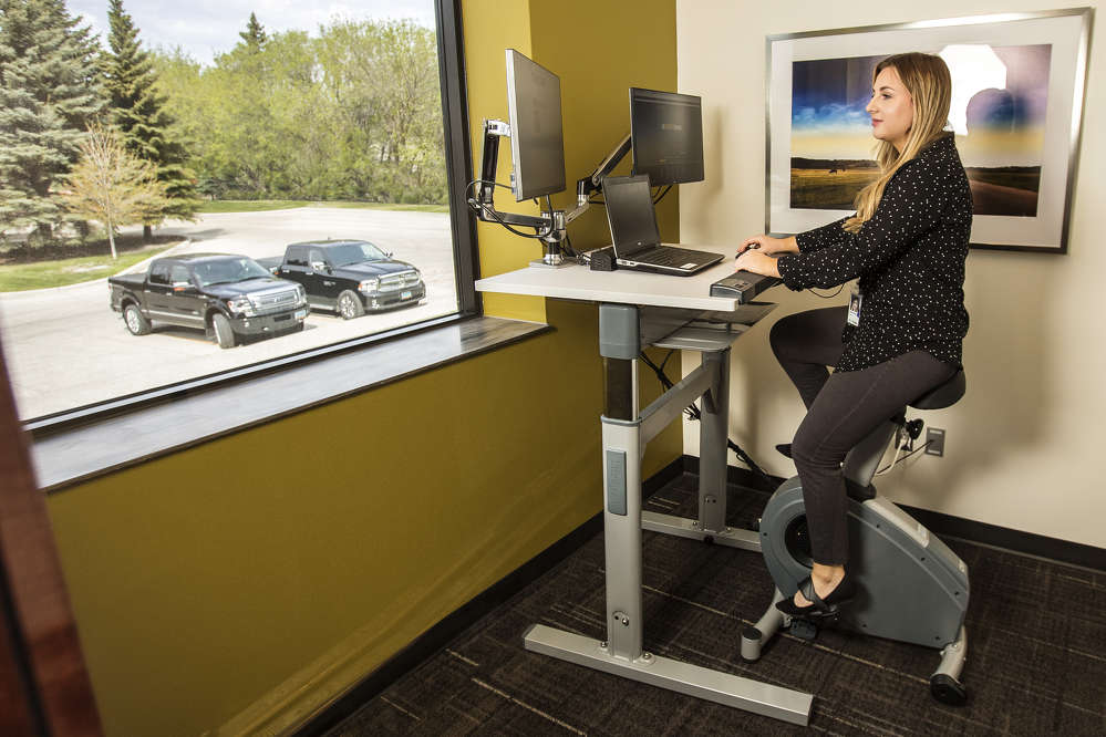 All desks have a standing option and treadmill and bike workstations further increasing wellness opportunities.