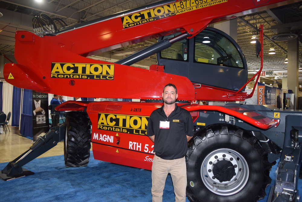 Chris Boltri of Action Rentals stands with the Magni telescopic handler.
