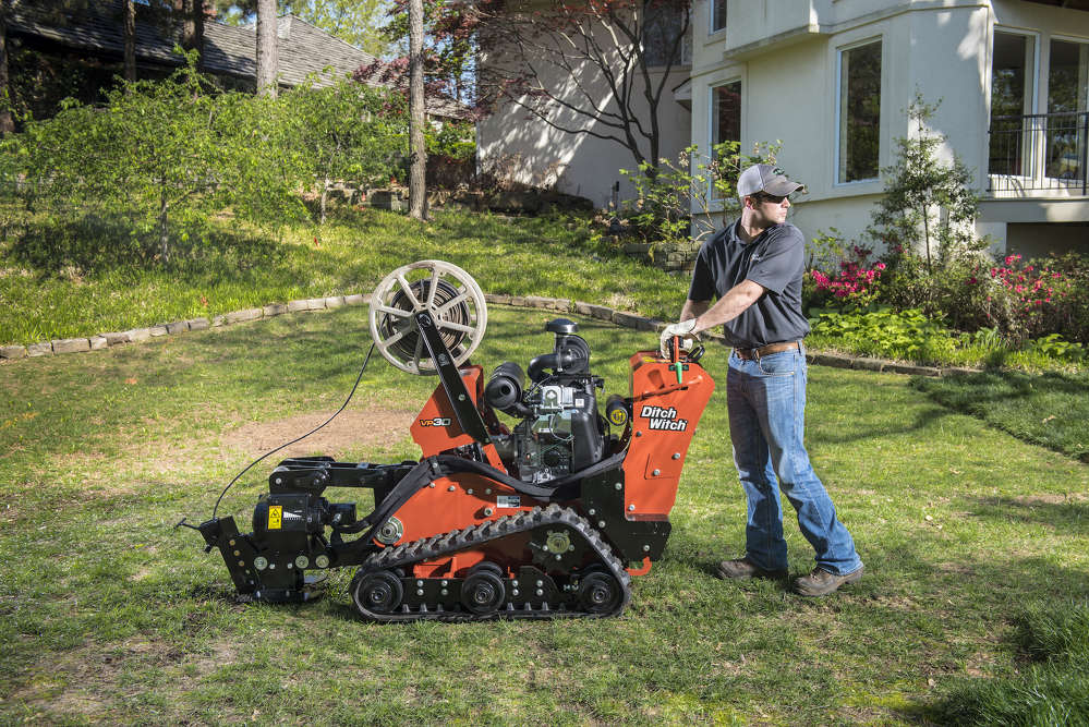 The VP30 has a maximum 12-in. (30.5 cm) plow depth and a 4.1-psi (0.28-bar) ground pressure for minimal lawn disruptions and reduced restoration work.