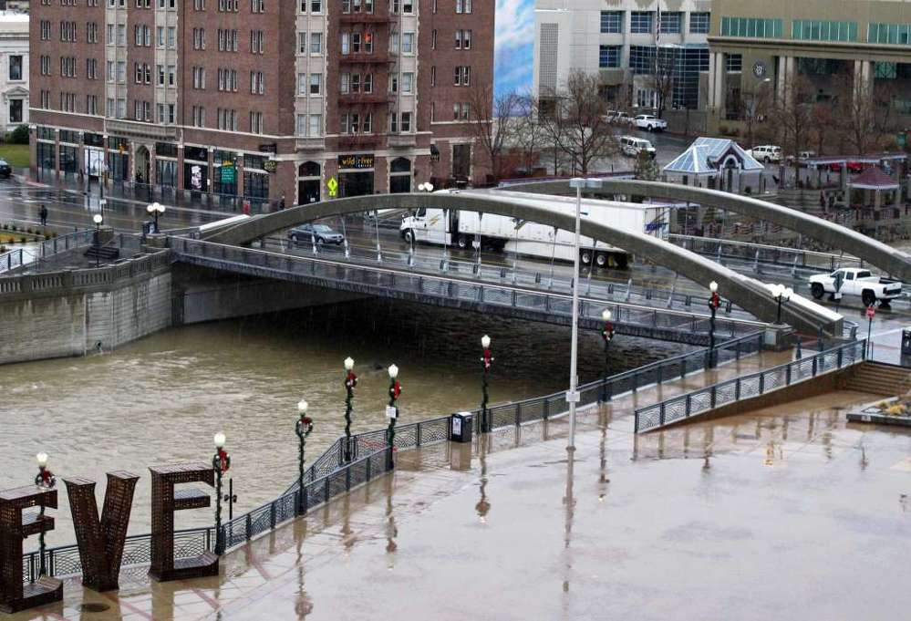 The Virginia Street bridge in Reno, Nev., above the Truckee River. (AP photo)