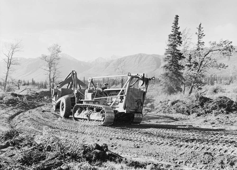Crews Grade the Alaska Canadian Highway in 1942.  (Library of Congress photo)