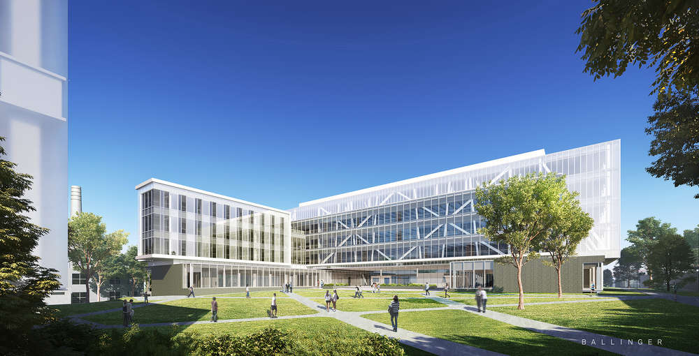 An architectural rendering of the future URI College of Engineering complex.