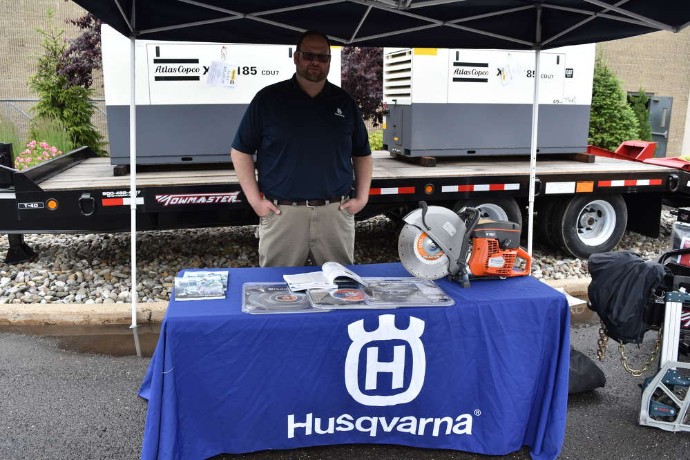 Craig MacFarlane, New Jersey district sales manager of Husqvarna, is ready to tout his company's product line.