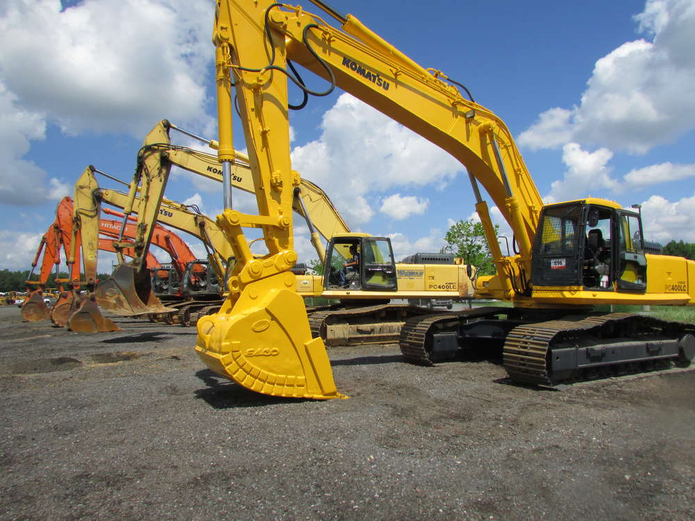 More than 90 excavators were sold at the auction.