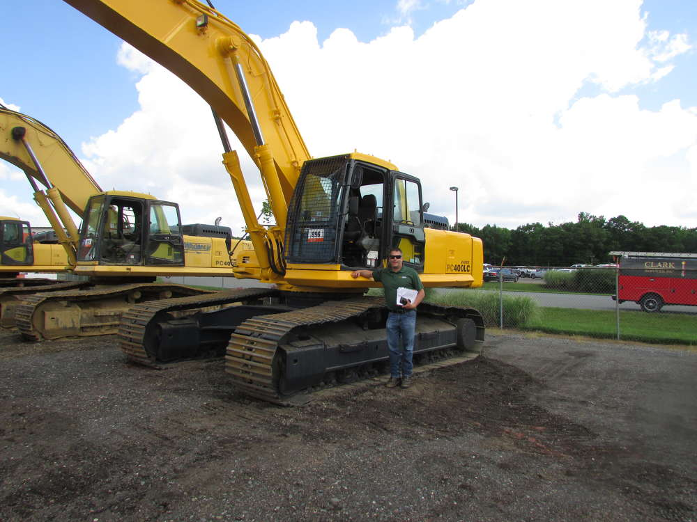 Leo Dobrinski, president of Dobrinski Brothers Inc., Falls, Pa., shops for a variety of equipment at the sale including this Komatsu PC400LC.