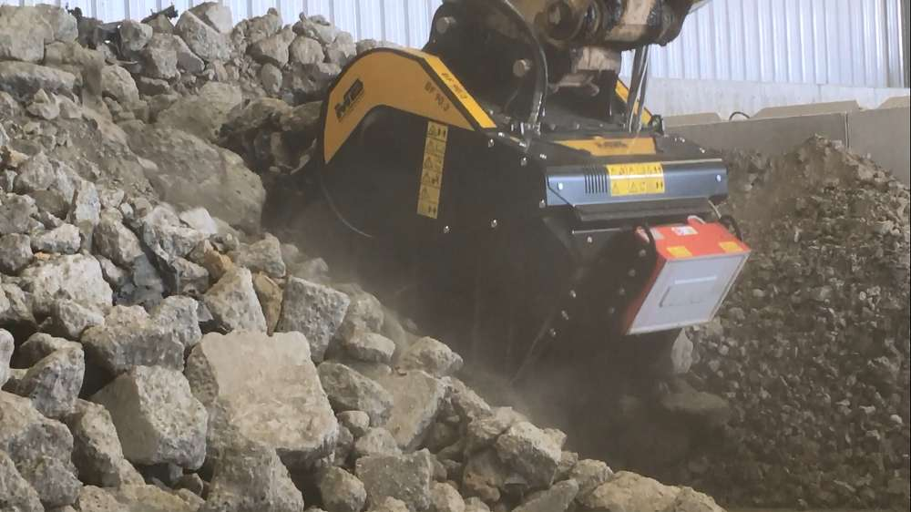 The BF90.3 is MB Crusher's mid-sized crusher bucket designed for excavators weighing more than 46,300 lbs.