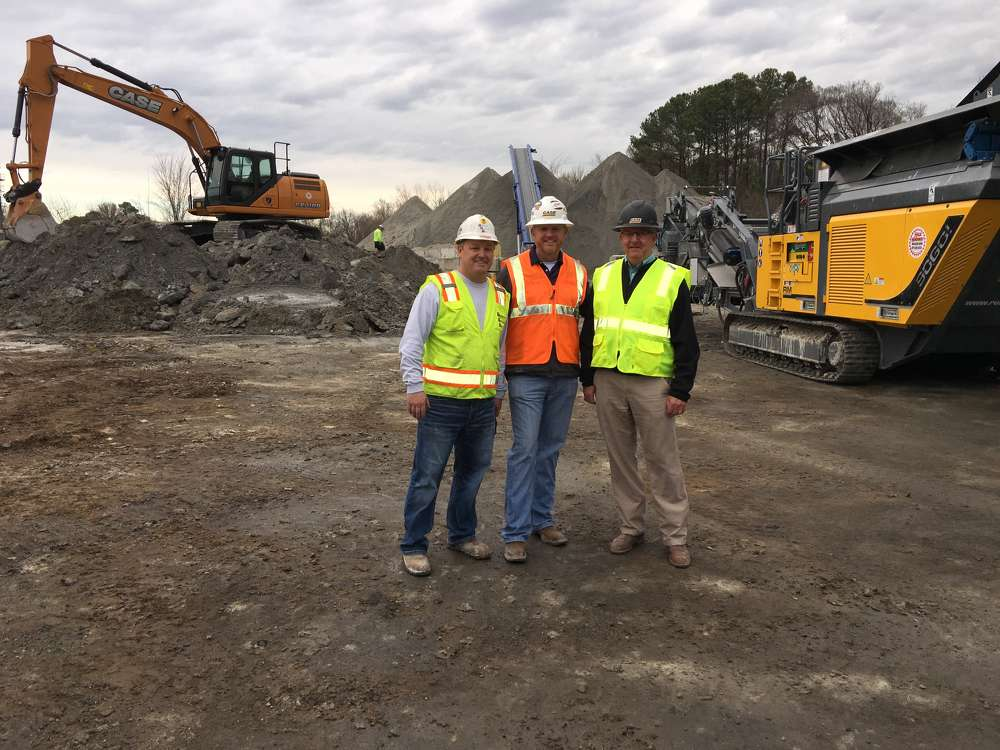 (L-R) are Matt Soddy, Superior Concrete president and owner, Mark Hollingsworth of Hills Machinery and Billy Tedder, Hills Machinery.