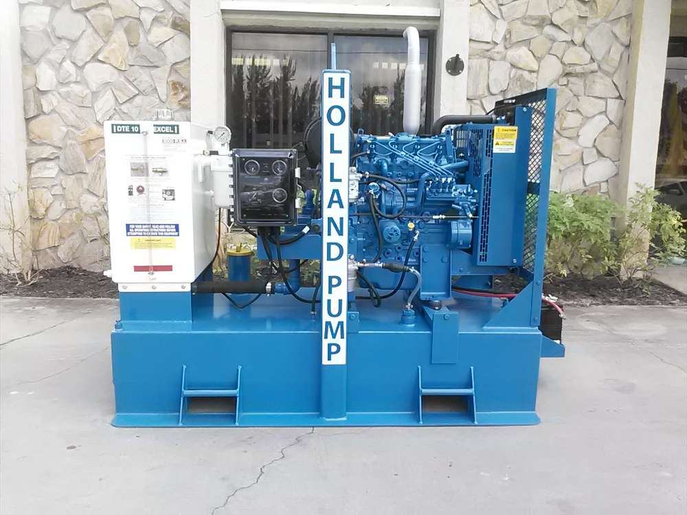 Holland Pump manufactures hydraulically driven pumps (HDS) from 2 to 30 in.,  axial flow pumps to 55,000 GPM, jet pump from 4 to 8 in., prime-assisted suction lift pumps from 3 to 18 in. and rotary lobe wellpoint pump packages from 4 to 12 in.