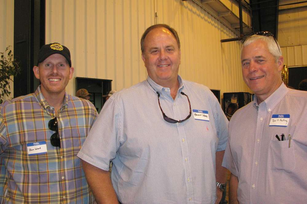 (L-R): Russ and Bryant Wood, both of JM Wood Auction Company, Montgomery, Ala., and Burt Autrey, Scott Trade Bank, equipment finance in Auburn, Ala., came north for the festivities.