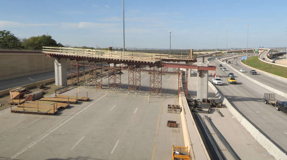 The project includes rehabilitation of 44 bridges and construction of 28 new bridges. (DFWFreeways.com photo)