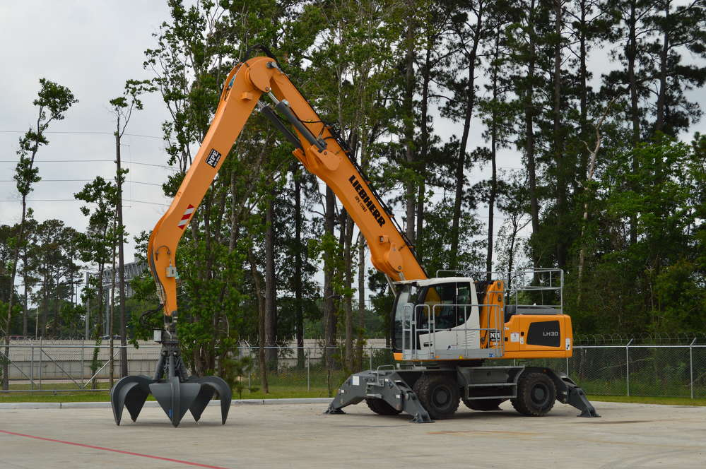 Nueces Power Equipment showed off the Liebherr line of material handlers at the open house, including this LH30. (Brandi Muniz photo)