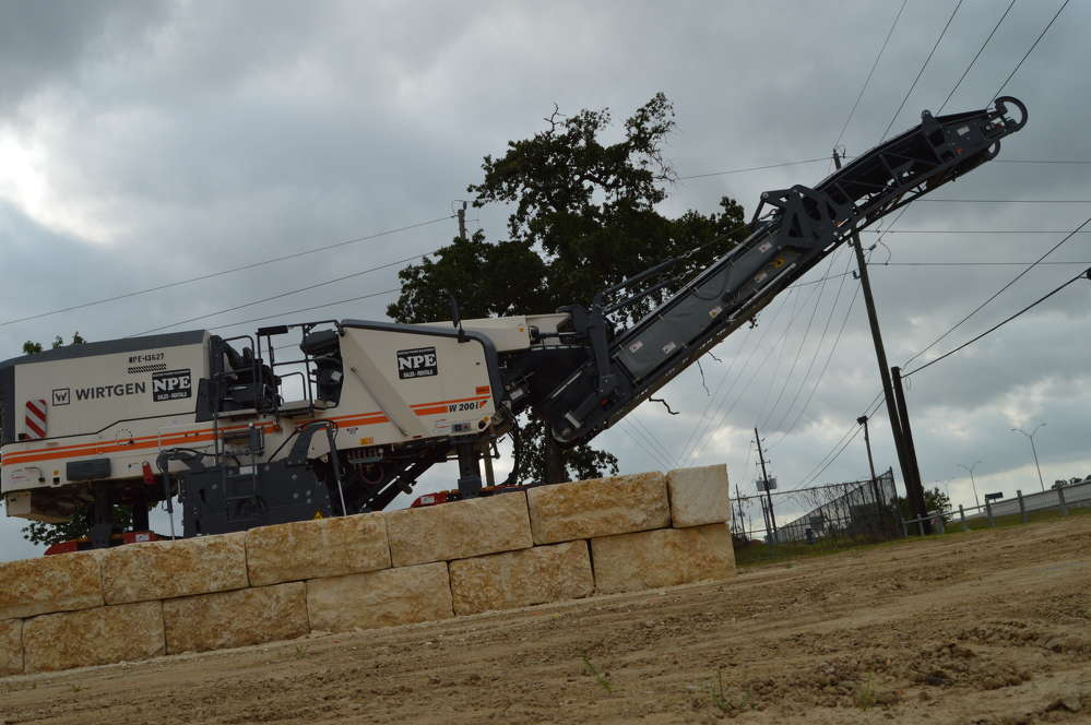 A Wirtgen 200i milling machine stands prominently at the entrance to the newest Nueces Power Equipment branch on N. Sam Houston Parkway in Humble, Texas, just outside of Houston. (Brandi Muniz photo)