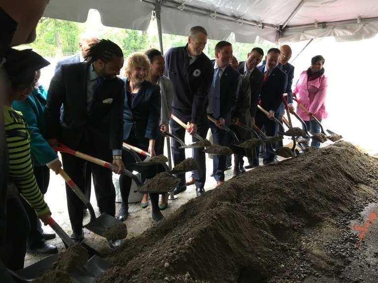 Officials held a groundbreaking ceremony to celebrate the construction of the new Blue Hill Avenue Station on the Fairmont Commuter Rail Line.