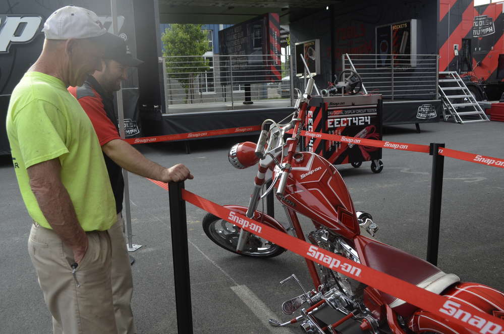 This beautiful Snap-On custom built chopper from Orange County Choppers is a real attention getter.