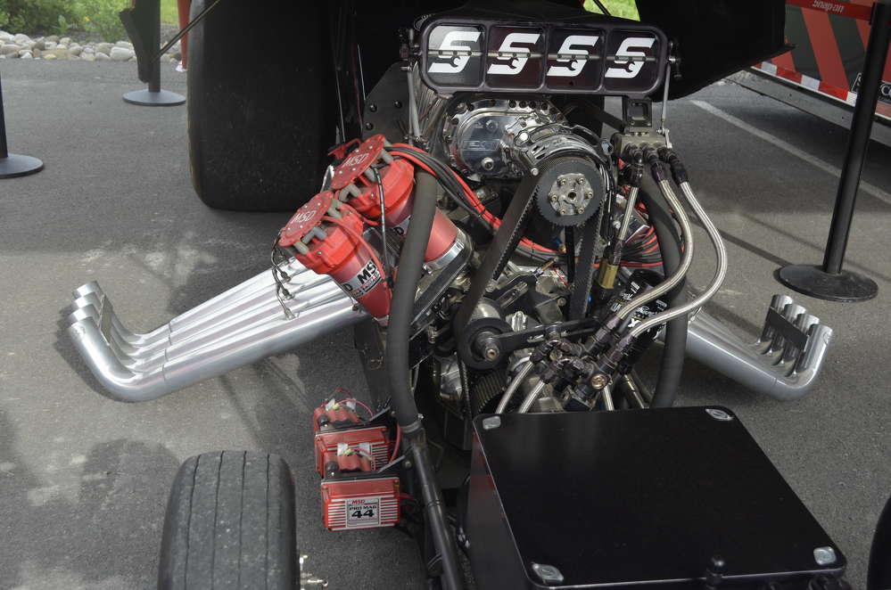 Up close shot of the engine that powers the Snap-On dragster to the winner's circle.