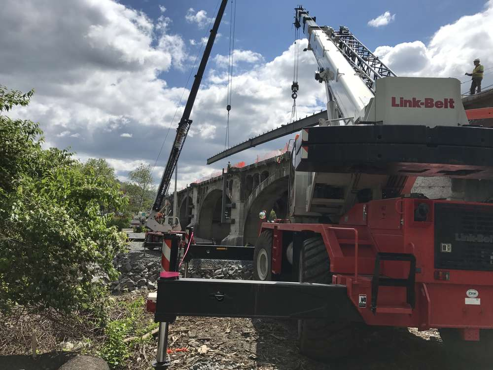 The RTC8080-II is the biggest crane that can be legally hauled in Pennsylvania on eight axles (four truck, four trailer) without removing any counterweight.
