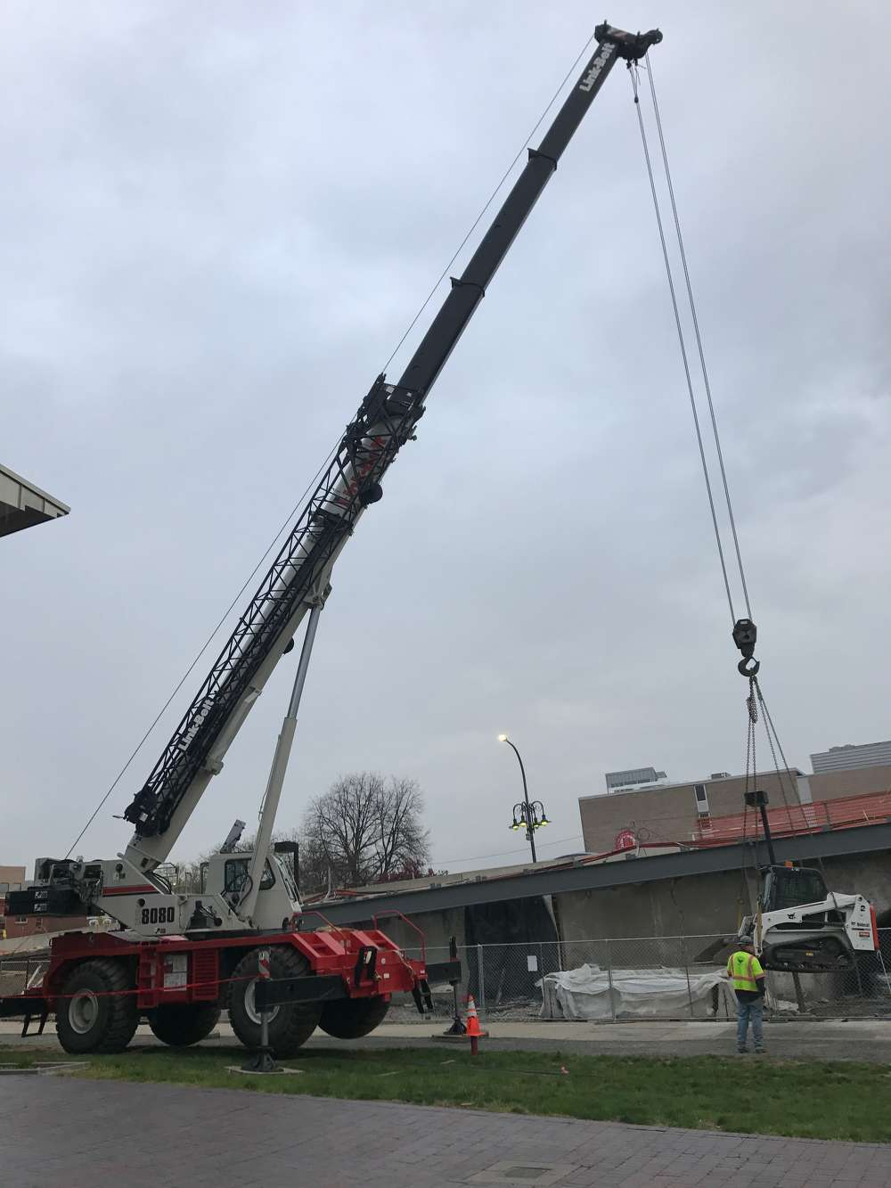 """""""Rather than a using a smaller crane of 40 to 50 ton capacity and having to bring in a larger crane from time to time, the 80 ton cranes can handle it all on some jobs,"""" said Jeff Esbin, equipment manager of J.D. Eckman Inc."""